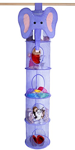 5 Tier Storage Organizer - 12'' X 59'' - Hang in Your Children's Room or Closet for a Fun Way to Organize Kids Toys or Store Gloves, Shawls, Hats and Mittens. Attaches Easily to Any Rod. (Elephant) by Handy Laundry