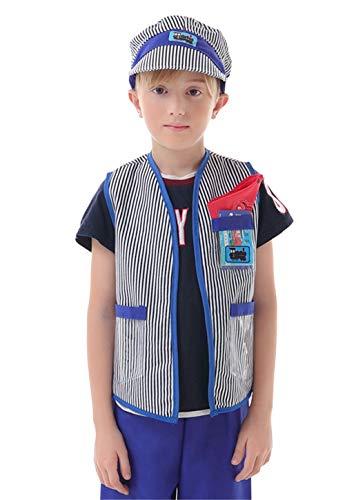 BesserBay Kids Train Engineer Costume Handyman Cosplay Train Driver Halloween ()