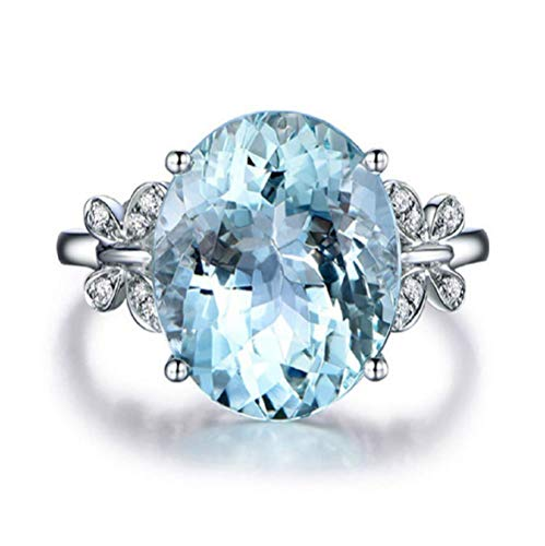 Wenbin Fashion Lady Natural Stone Topaz Ring Blue Topaz Bow Ring 925 Sterling Silver Oval Gemstone Ring Engagement Ring Wedding Jewelry Size 6-10 (US Code - Topaz Bow