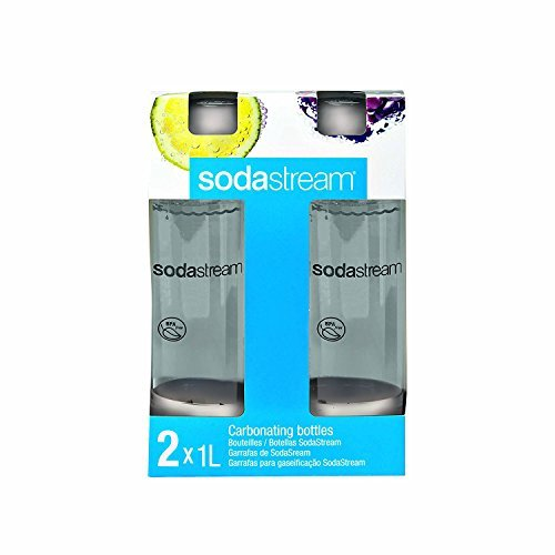 Sodastream 1l Carbonating Bottles- clear/white Rounds (Twin Pack)
