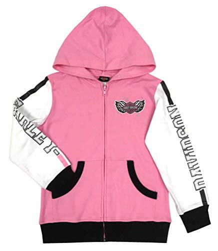 Harley-Davidson Little Girls' Colorblocked Knit Zip Toddler Hoodie, Pink ()