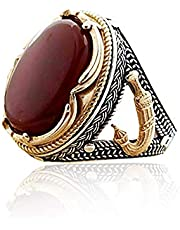 Special Design silver ring, with original royal Red Aqeeq stone, sterling Silver 925 Fixed colour, Free adjusting to your preferred size