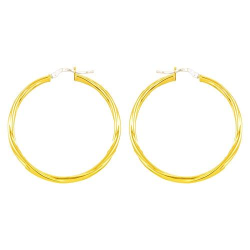 So Chic Bijoux © Boucles d'oreilles Femme Créoles Torsades Légères Diamètre 50 mm Fil 2,5 mm Or Jaune 750/000 (18 carats)