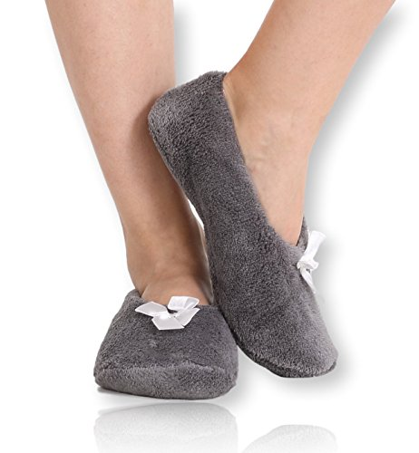 Pembrook Fuzzy Soft Coral Fleece Slippers – Gray - Small (4-6) – Ballet Style with Non-Skid Sole – Faux Shearling Lining - Great Plush Slip On House Slippers for Adults, Women, Girls ()