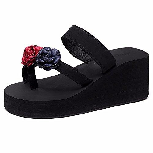 moda coreana solapas zapatillas playa de pies versión playa de abatibles y XIAOGEGE deslizantes rojo de zapatillas suela Zapatos gruesa zapatos ropa nTWOCvF