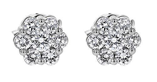 (Olivia Paris 14k White Gold 1/2 Carat ctw Diamond Flower Cluster Stud Earrings (H-I, SI1-SI2) )