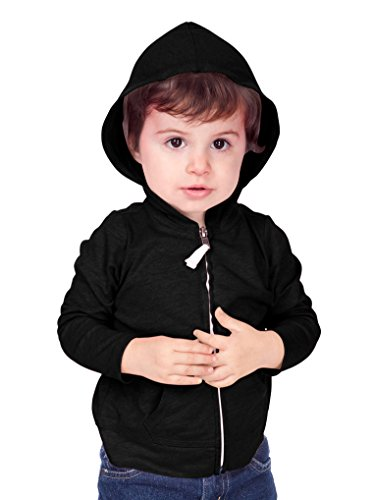 Kavio! Unisex Infants Jersey Long Sleeve Zip Up Hoodie Black 18M