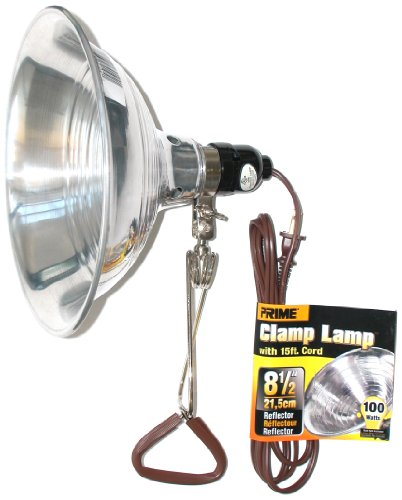 Prime Wire Cl050515b Reflector Clamp Lamp With 15 Feet 18 2 Spt 2 Cord  8 5 Inch