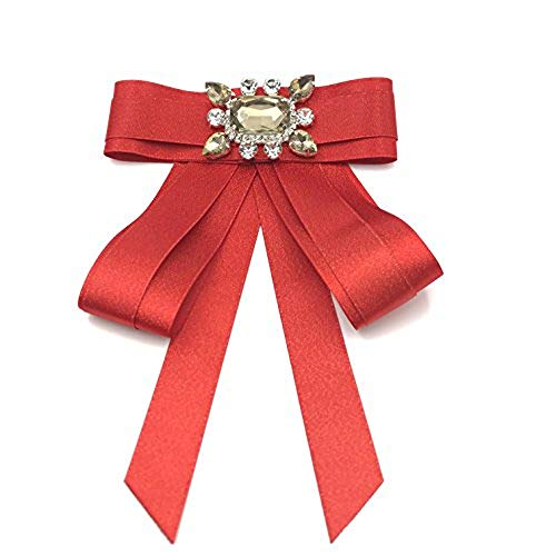 Rhinestone Ribbon Brooch - Rhinestone Crystal ribbon brooches Bow Brooch pre-tied bow tie for women(gorgeous red)
