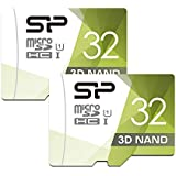 Silicon Power 32GB High Speed MicroSD Card with Adapter (2 Pack)