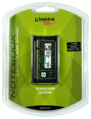 Kingston 1GB PC2-5300 667MHz DDR2 SDRAM Notebook Memory KVR667D2SO/1GR
