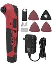 Oscillating Tool Cordless Oscillating Multi-Tool Kit with Straight Saw Blade & Sand Disc 6 Speed Rolling Control Speed for Sanding Trimming