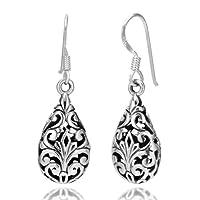 925 Oxidized Sterling Silver Bali Inspired Filigree Puffed Teardrop Dangle Hook Earrings 1.26'' Jewelry for Women - Nickel Free from Chuvora