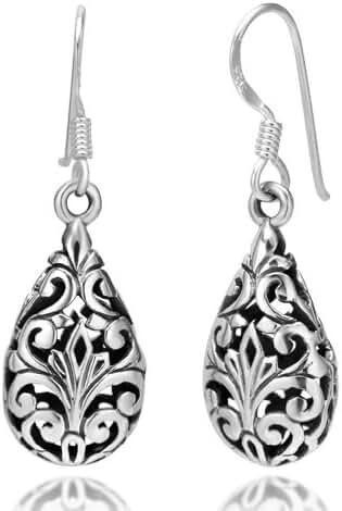 925 Oxidized Sterling Silver Bali Inspired Filigree Puffed Teardrop Dangle Hook Earrings