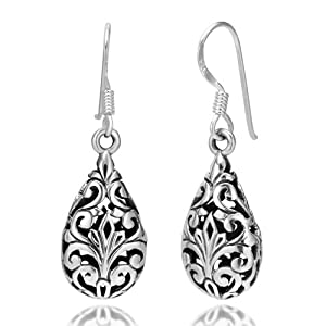 925 Oxidized Sterling Silver Bali Inspired Filigree Puffed Teardrop Dangle Hook Earrings