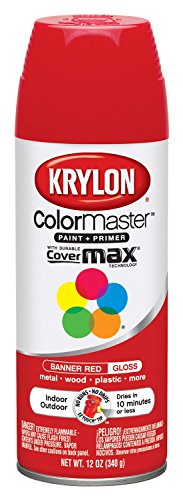 - Krylon K05210807 ColorMaster Paint + Primer, Gloss, Banner Red, 12 oz.
