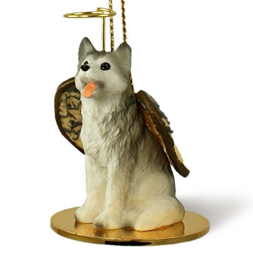 Husky Figurine Siberian Dog (1 X Siberian Husky Gray & White Angel Dog Ornament Figurine)