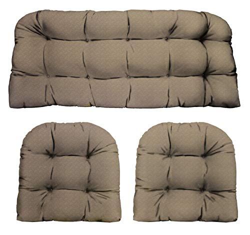 RSH Décor Indoor/Outdoor Wicker Cushions Two U-Shape and Loveseat 3 Piece Set (Faux Basket Weave/Burlap) (Set Furniture Cushion Wicker)