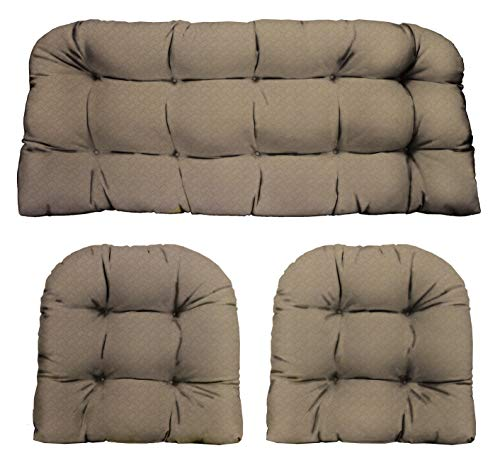 RSH D cor Indoor Outdoor Wicker Cushions Two U-Shape and Loveseat 3 Piece Set Faux Basket Weave Burlap