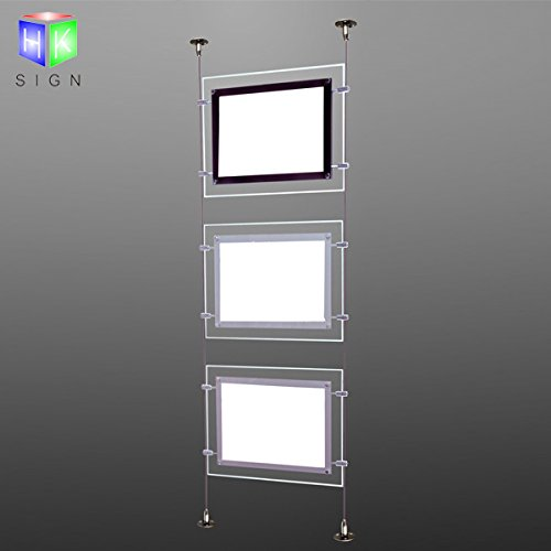 Real Estate Office Window Hanging Acrylic Poster Frame Crystal Led Light Box Sign Display Holder by HKSIGN