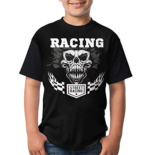 (TGDBS1 Racing Clipart Checkered Flag Flames Vector Kids' Boys' Short Sleeve 3D Printed T-Shirts/Tee Shirt Gifts Black)