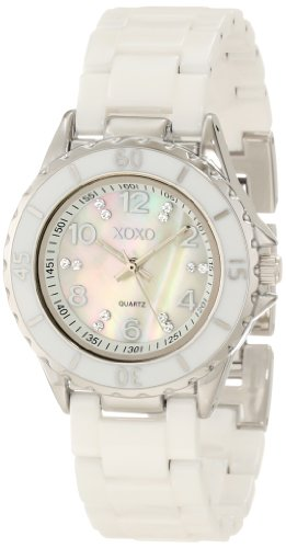 XOXO Women's XO2003 Swarovski Crystal Accented Silver-Tone White Ceramic Bracelet Watch