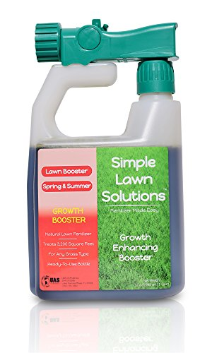 Simple Lawn Solutions Extreme Grass Growth Lawn Booster- Natural Liquid Spray Concentrated Fertilizer with Fulvic & Humic Acid- Any Grass Type (32 oz. w/Sprayer) - Lawn Care Grass Seed