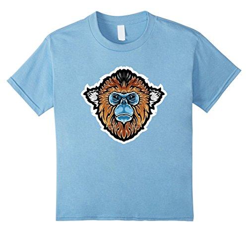 Kids Golden Snub-Nosed Monkey China Wildlife Animal T Shirt 10 Baby Blue