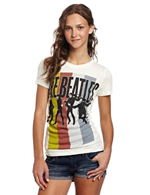 FEA Juniors Beatles Stripes Standing Group Tissue Tee