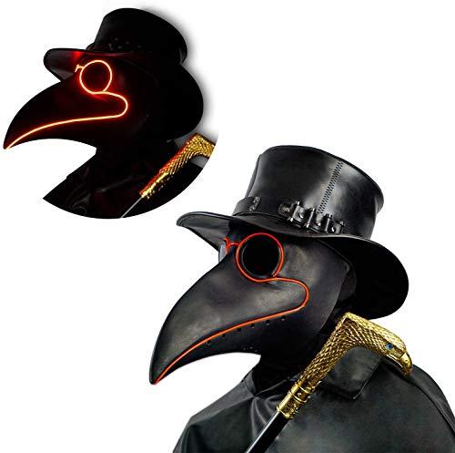 CreepyParty LED Mascara Doctor Peste Pajaro de Nariz Larga Mascaras de Accesorios de Disfraces de Halloween Steampunk Iluminar Negro