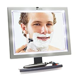 ToiletTree Products Deluxe LED Fogless Shower Mirror with Squeegee
