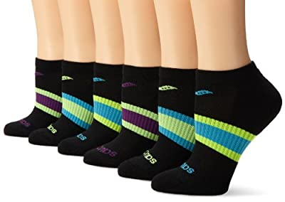 Saucony Women's 6 Pack Performance Arch Stripe No Show Socks