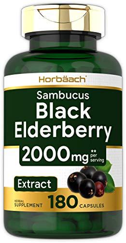 Horbaach Black Elderberry Capsules 2000mg | 180 Pills | Non-GMO, Gluten Free | Sambucus Extract Supplement