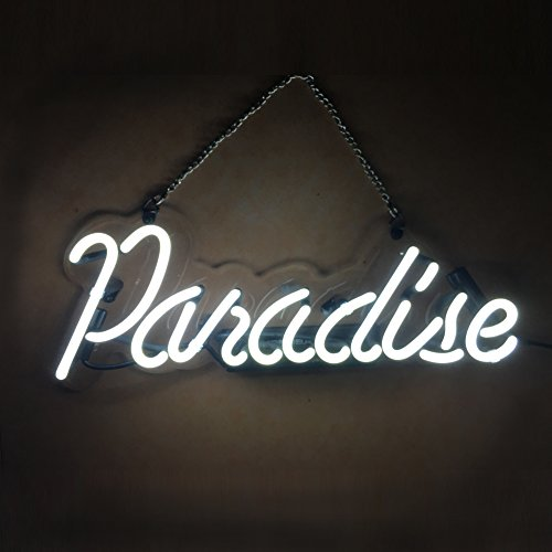 LiQi PARADISE Real Glass Handmade Neon Wall Signs for Room Decor Home Bedroom Girls Pub Hotel Beach Cocktail Recreational Game Room (14' x 5') (White)