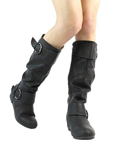 TRAUM-PAAR-Frauen Kniehohe niedrige versteckte Keilstiefel (breites Kalb verfügbar) Ura-schwarz