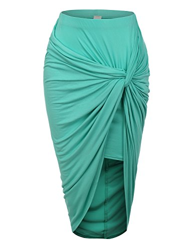 RubyK Womens Asymmetrical Banded Waist Wrap Cut Out Hi Low Maxi Skirt (Wrap Skirt)