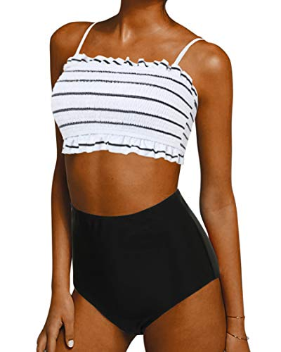 Shirred Bandeau Swimsuit - SUUKSESS Women Cute Shirred Bandeau Bikini Sets Off Shoulder 2 Pieces Swimsuit (Small, Black Stripe)