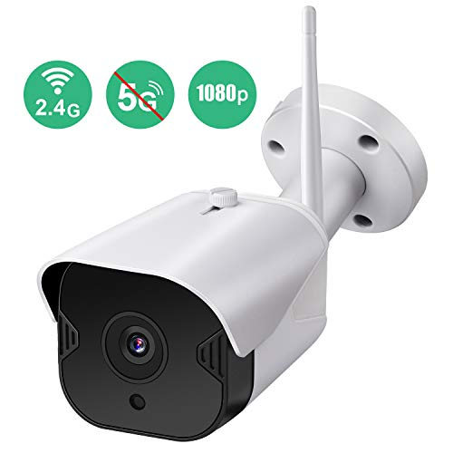 Amzpas Outdoor Security Camera, 1080p Night Vision WiFi Camera 2.4GHZ Outdoor Wireless Camera IP65 Waterproof Bullet Surveillance Camera with Motion Detection, Activity Alert, Two-Way Audio (White) (Bullet Camera Waterproof)