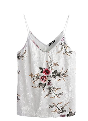 Floral Velvet Jeans (SheIn Women's Casual Basic Strappy Velvet V Neck Cami Tank Top Small Floral Beige)