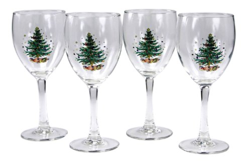 Nikko Ceramics Christmas 11-Ounce Glass Goblets, Set of (Nikko Christmas Tree)