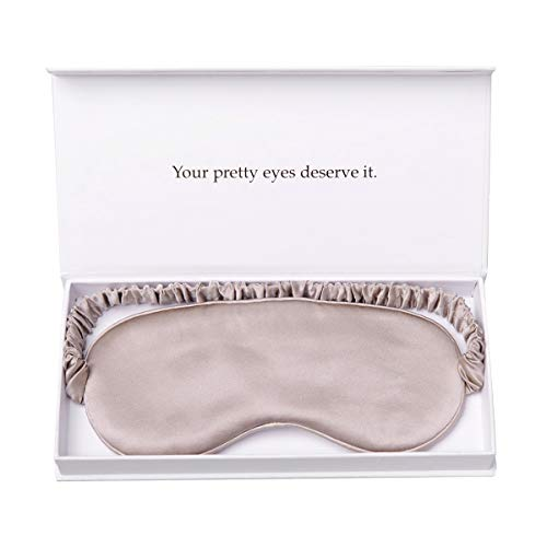 (YANSER Luxury Silk Eye Mask 100% Mulberry Silk Sleep Mask | Anti-Aging / Skin Care | 6 Colors | Ultra Soft & Light | Travel Bag | Comfortable for All Positions nap | Gift Package| Blindfold(Caramel ))