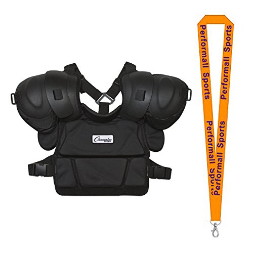 Champion Sports Low Rebound Foam Professional Umpire Chest Protector Black Bundle with 1 Performall Lanyard P170-1P by Champion Sports