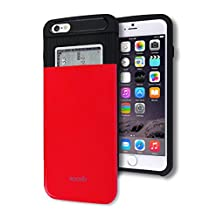 iPhone 6 / 6S Plus Wallet Case [Card Slot] [Heavy Duty] Slim Fit Ergonomic Hybrid Tough Shield Front Screen Drop Protection Rubber Back Bumper Slide Cover Apple iPhone6 iPhone6S Plus (Red)
