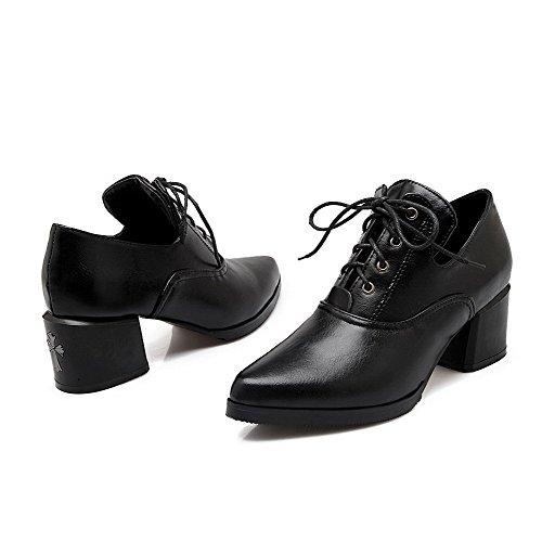 Amoonyfashion Femmes Lacets Point Fermé Fermé Orteils Kitten-talons Pu Solides Pompes-chaussures Noir