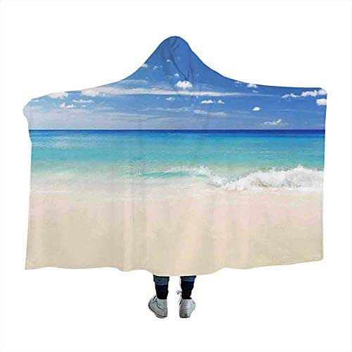 dsdsgog Hooded Blanket Ocean,Tropical Haven Style Sandy Shore and Sea with Waves Escape to Paradise Theme,Cream Turquoise White Blankets Scarf 60 x 50 Inch