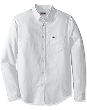 Men's Long Sleeve Pique Jacquard Pattern Woven Shirt