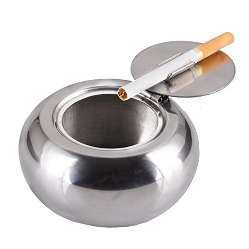 Sissiangle Drum Shape Windproof Stainless Steel Ashtray, Cigarette Ashtray for Indoor or Outdoor, Ash Holder for Smoker, Desktop Smoking Ash Tray for Home Office Decoration, Ashtray, Car Ashtray (Glass Cafe Table)