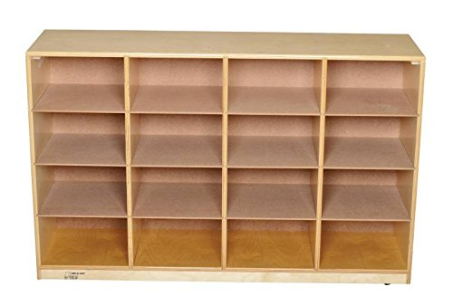 Bird in Hand 271621 Mobile Cubby Unit, 16 Trays, All-Birch Veneer Panel, 47-3/4'' x 13'' x 30-5/8'', Natural Wood Tone by Bird In Hand