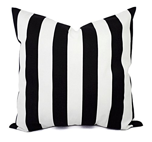 Black and White Pillow Cover in Striped Print - Black Pillow Cover - Custom Pillows