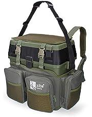 Zite Multifunktionell fiskeväska ryggsäck med säte - Inkluderar 4 plastlådor i locket - idealisk förvaring för fisketillbehör